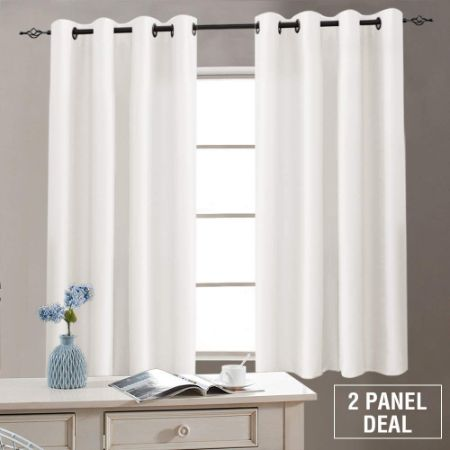 White Faux Silk Curtains Bedroom 63 inches