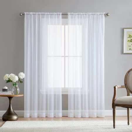 """HLC.ME White 54"""" inch x 84"""" inch Sheer Curtains"""