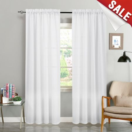 White Curtains 95 inch Rod Pocket Casual Weave Window Curtain Set