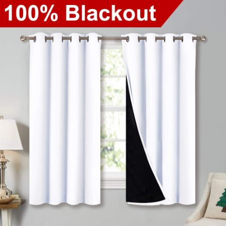 """NICETOWN White 100% Blackout Lined Curtains (52"""" Width x 63"""" Length)"""