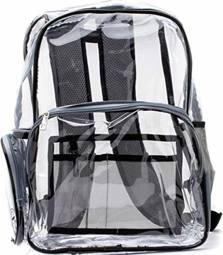 Quality Clear Backpack Black and Gray Heavy Duty