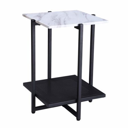FIVEGIVEN White Accent Side End Table Modern Night Stand