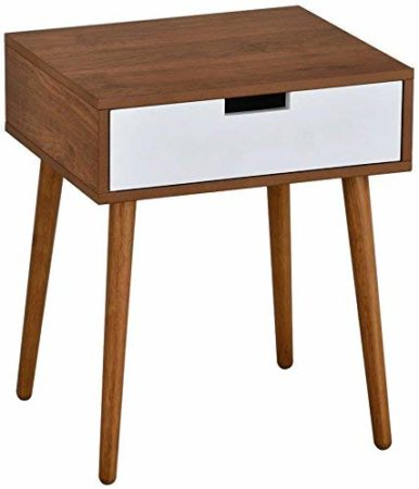 Light Walnut/White Side End Table Nightstands