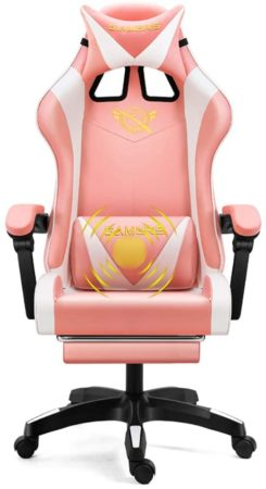 Bling Pink Gaming Chair High Back PU Leather