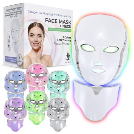 Red Light Therapy LED Face Mask Neck 7 Color