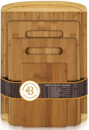 Bambusi Organic Bamboo Cutting Board Set