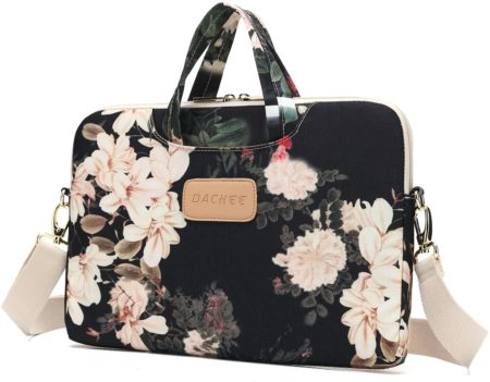 Dachee Black Peony Patten Waterproof Laptop Shoulder