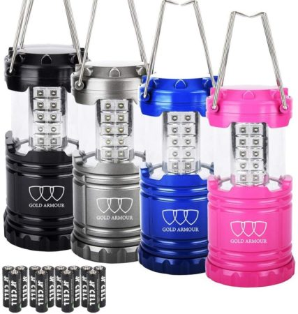 Gold Armour 4 Pack LED Camping Lantern Portable